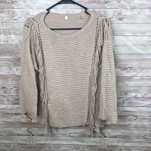 Anthropologie Margaret O'leary Tan Fringe Top